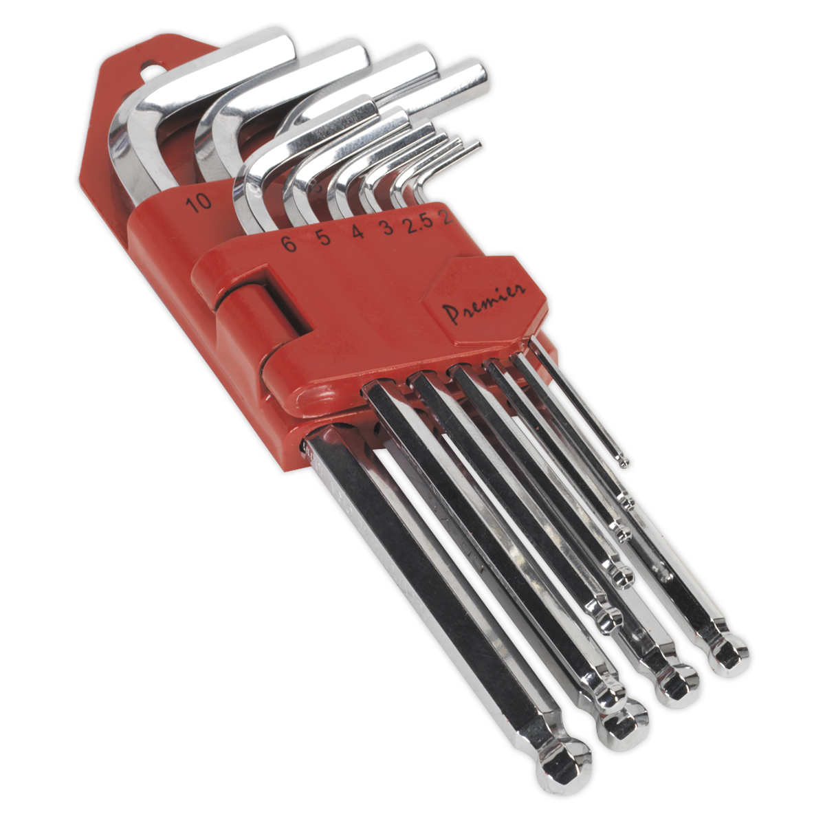 Ball-End Hex Key Set 10pc Long Fully Polished Metric