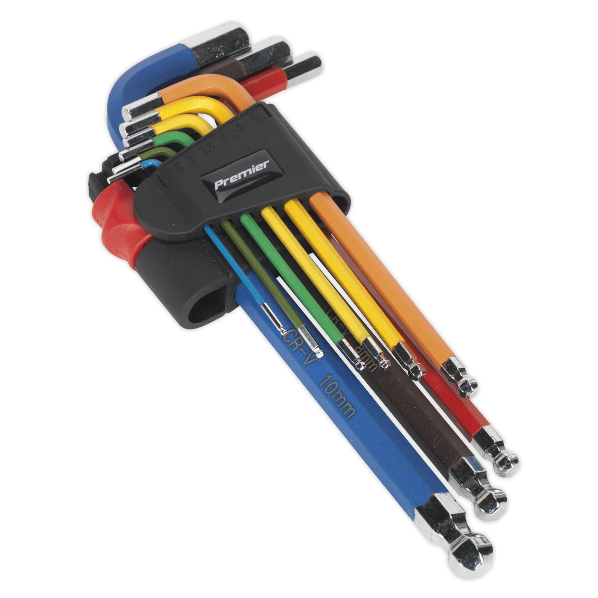 Ball-End Hex Key Set 9pc Colour-Coded Long Metric