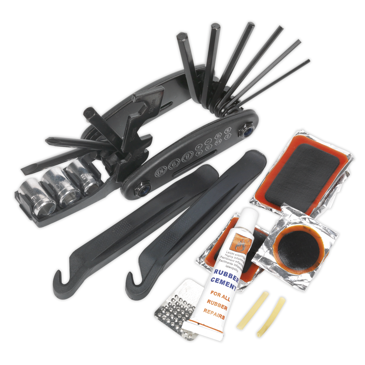 Folding Multi-Tool & Puncture Repair Kit - Bicycle