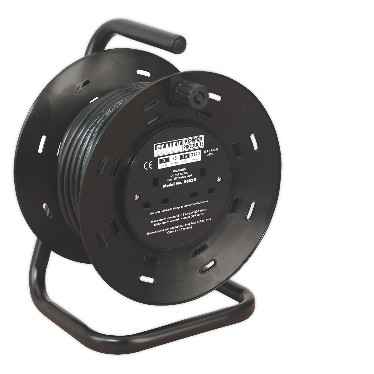 Cable Reel 25mtr 4 x 230V 1.25mm? Thermal Trip