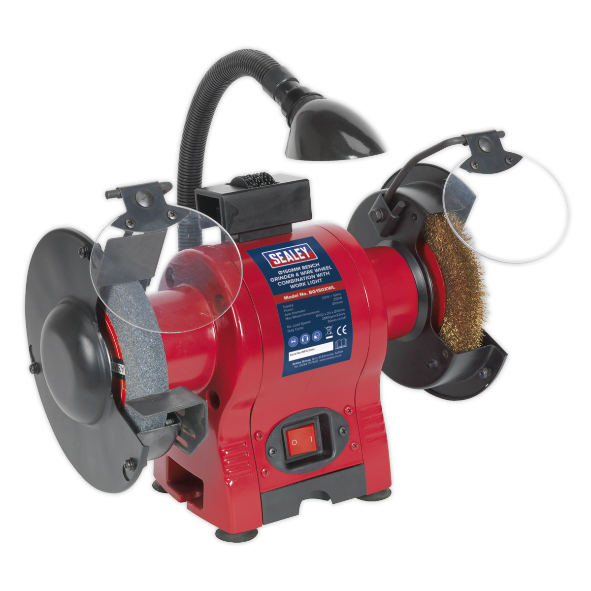 Bench Grinder ?150mm & Wire Wheel Combination with Work Light 250W/230V