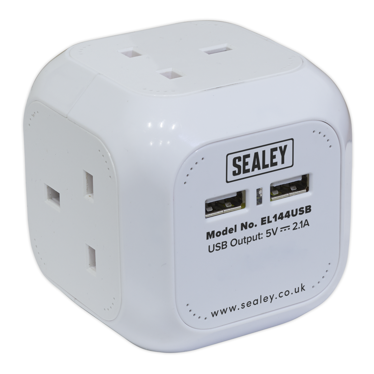 Extension Cable Cube 1.4mtr 4 x 230V + 2 x USB Sockets - White