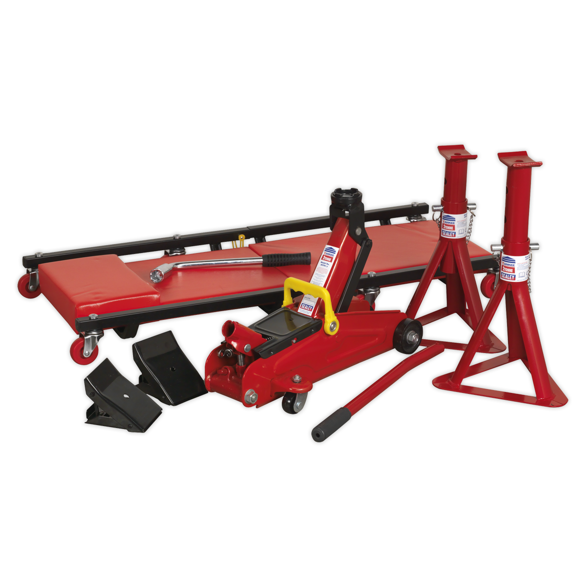 Lifting Kit 5pc 2tonne (Inc Jack\, Axle Stands\, Creeper\, Chocks & Wrench)