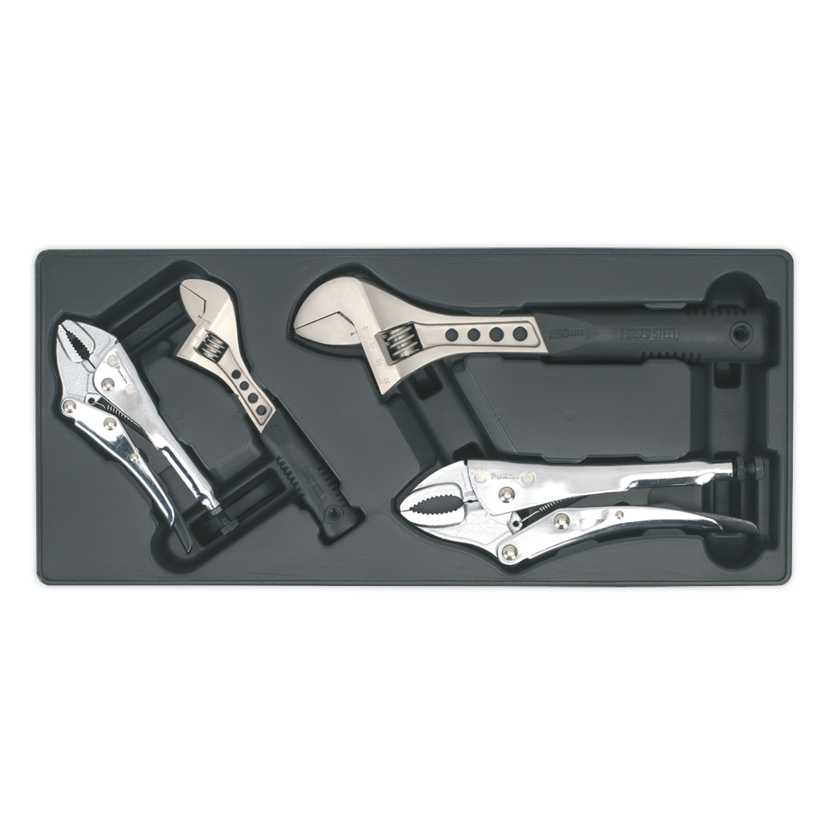 Tool Tray with Locking Pliers & Adjustable Wrench Set 4pc