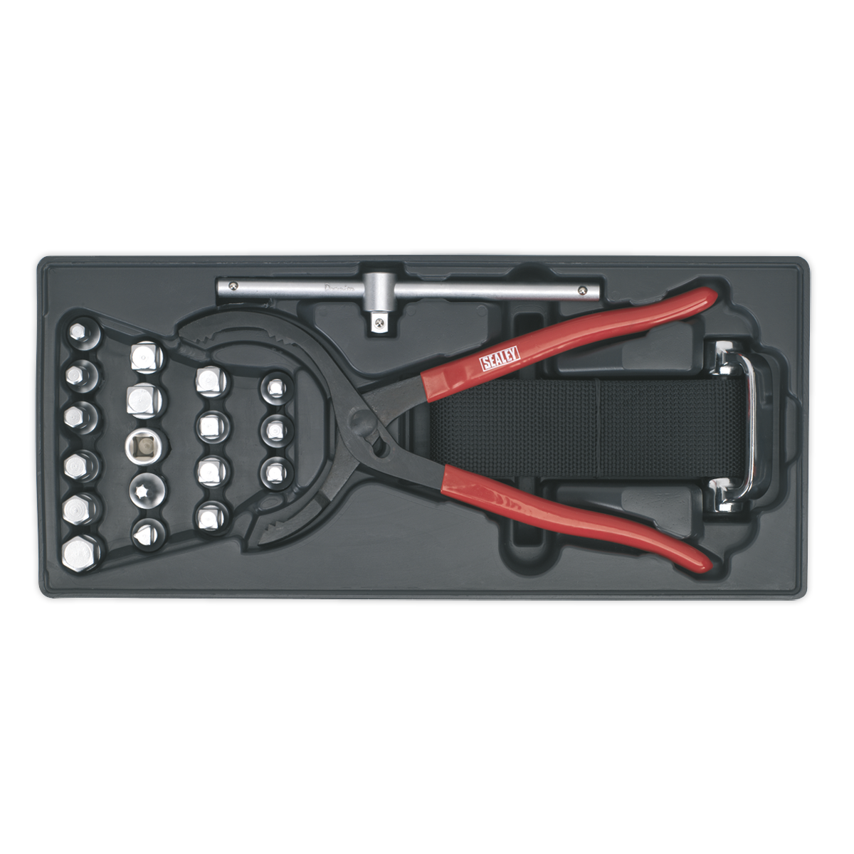 Tool Tray with Oil Filter Wrench, Pliers & Drain Plug Set 21pc