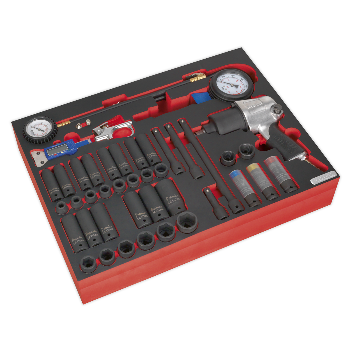Tool Tray with Impact Wrench, Sockets & Tyre Tool Set 42pc