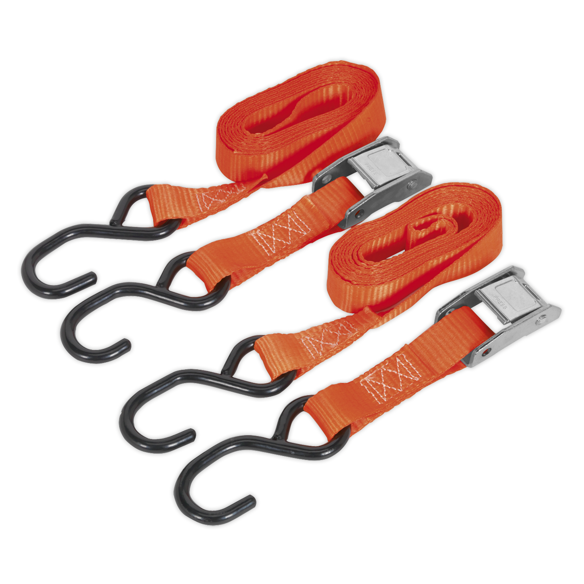Cam Buckle Tie Down 25mm x 2.5mtr Polyester Webbing with S Hooks 500kg Load Test