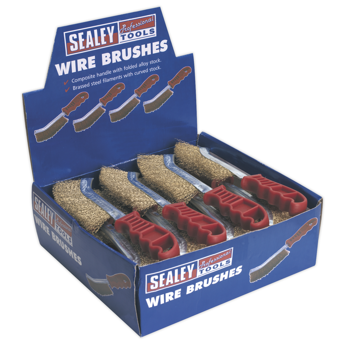 Wire Brush Brassed Steel Plastic Handle Display Box of 24